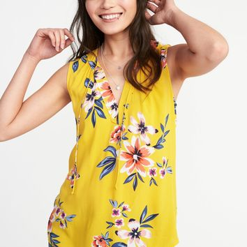 Relaxed Sleeveless Boho Top for Women|old-navy