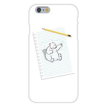 Apple iPhone 6 Custom Case White Plastic Snap On - 'Sketching Escape' Funny Bear Drawing Punching on Paper