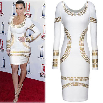 Plus Size Women Dresses New Fashion 2015 European Vintage Sexy OL Long Sleeve Geometric Patterns Knee-Length Pencil Dress