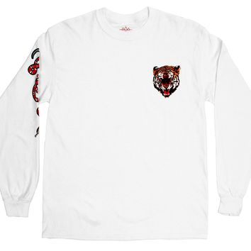 Tiger and Snake L/S white T-shirt by Altru Apparel