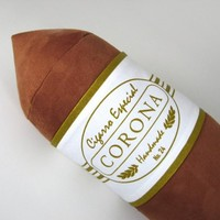 Corona Cigar Pillow with White and Gold Band