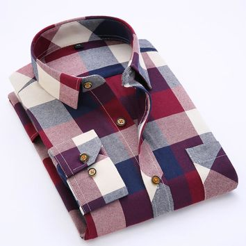 Men's Long Sleeve Contrast Bold Plaid Brushed Shirt with Left Chest Pocket