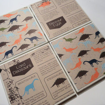 Brown and Neon Dinosaur Ceramic Coasters - set of 4 - Dino Want Ads Collection