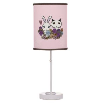 Customizable Cute Animal Pink Table / Desk Lamps for Girl's Bedroom: Easter and Birthday Gift Idea for Girls: Kawaii Bunny and Kitten