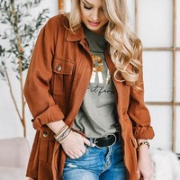 Zip Up Oversized Jacket | Red Brown