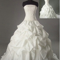 Ball gown Strapless Cathedral Train Taffeta Wedding Dresses With Embroidery Beading Free Shipping