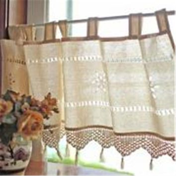 Cotton Linen Curtain Crochet Country Style Balcony Home Kitchen Linen Embroidery Decoration Cafe Curtain Restaurant Decor Drape