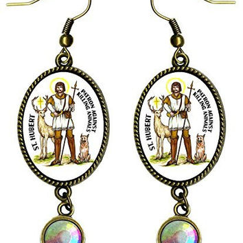 "Saint Hubert Patron Saint Against Killing Animals Antique Bronze Gold Iridescent Rhinestone Long 2 1/2"" Dangling Earrings"
