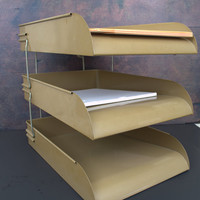 Mid Century Desk Accessory, Industrial Stacking Letter Tray,  Metal Desktop Organizer, 3-tier Paper Tray,