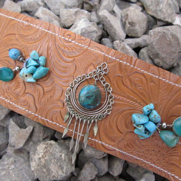 Tooled Leather Turquoise Cuff Bracelet - Upcycled Blue Green Charms & Beads on Brown Faux Leather