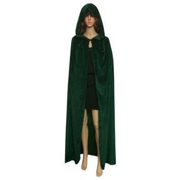 New Gothic Hooded Velvet Cloak Wicca Robe Medieval Witchcraft Cape Kid Adult Women Men Halloween Costume