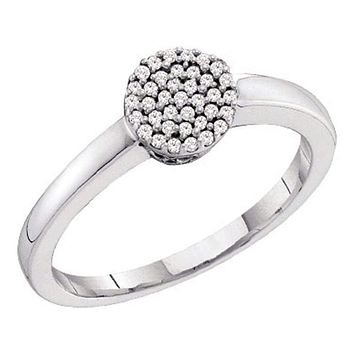 10kt White Gold Women's Round Diamond Simple Cluster Ring 1/8 Cttw - FREE Shipping (US/CAN)