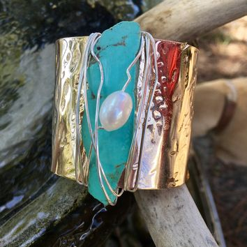 Turquoise Bronze Cuff with pearl accent