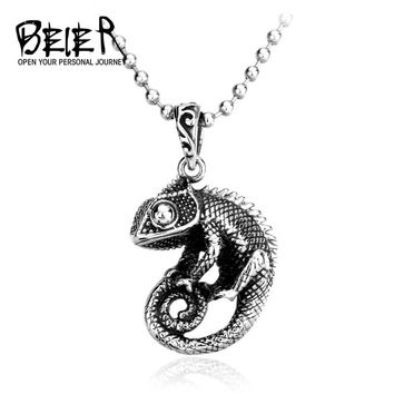 BEIER Punk Good detail Unique 3D Lizard Pendants Necklace Stainless Steel chain Cute Animal Gift jewelry for men BP8-065