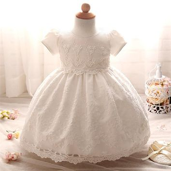 2017 Newborn Bridesmaid Baby Girl Infant dressWedding for Kids 1 year birthday Party Baptism Tutu Girls Dress Girl Clothes