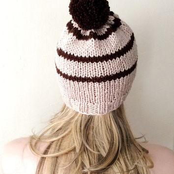 "Hand Knitted Hat, Slouchy  Hatwith Pompom , Beanie ,Boho ""Chunky "", Winter Fashion, Winter Accesories"