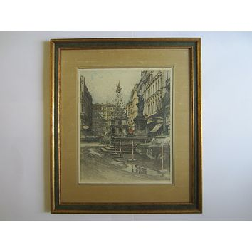 Robert Kasimir Vienna Graben Etched Pencil Signed Architectural Drawing