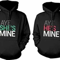365 In Love His and Her Matching Hoodies Aye She's Mine, Aye He's Mine Couples Hooded Sweatshirts