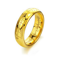 Tungsten Carbide Ring Gold Lord of the Rings