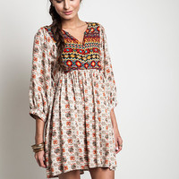 Umgee Printed Baby Doll Tunic Dress
