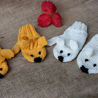 Polar Bear mittens, handknit gloves for adults and children, made to order, stocking stuffers, winter fashion