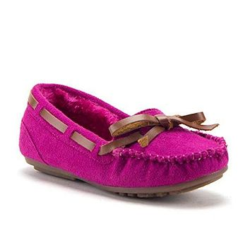 Toddler Girls' Little Kids' Tasha Warm Fur Lined Slip-On Moccasins Smoking Flats Shoes