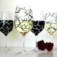 Black and White Bare Tree Wine Glasses-Set of 4
