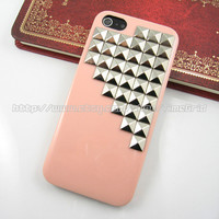 Pink iphone 5 hard case,silver studded iphone 5 case,stud studs pyramid hard cover skin case for iphone 5 case