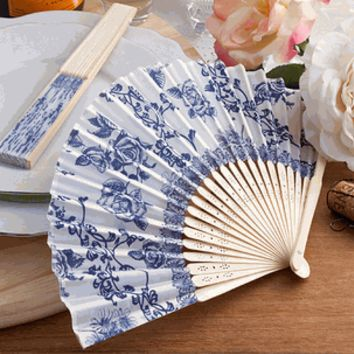 Elegant French Country Design Hand Fan Wedding Favors