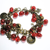 Alice in Wonderland jewelry inspired Charm bracelet Antique Brass and Red