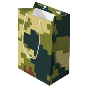 Pretty Green Camouflage Pattern Gift Bag