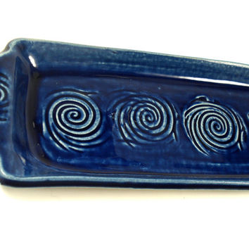 Blue Serving Tray, Snack Tray, Bread Dish,Dessert Dish, Appetizer Plate, Blue Pottery, Crudite Tray, Hors doeuvres Plate, Blue Kitchen Decor