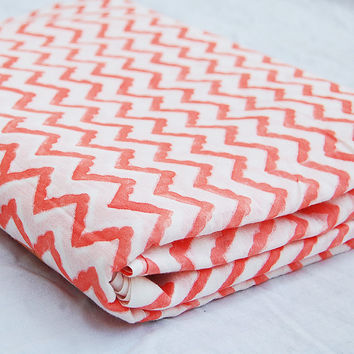 Hand Printed Cotton Voile Fabric Zig Zag Orange Light Weight Wood Stamp Print For Baby Ladies Dress Scarves Ladies Shirts Caftans Home Decor