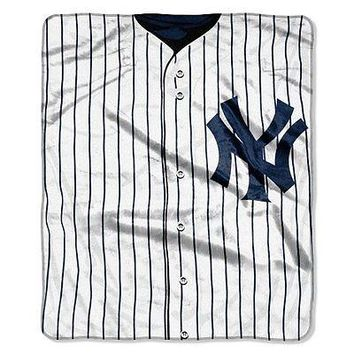 New York Yankees 50x60 MLB Jersey Design Royal Plush Raschel Throw