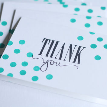 Thank You Cards - Teal Confetti on White