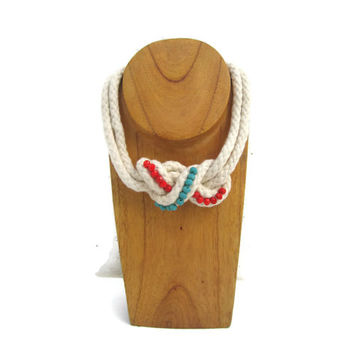 Rope Collar Necklace with Turuoise and Red Crystals in White - Bib Necklace