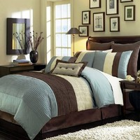 "Legacy Decor 8 Pieces Blue Beige Brown Luxury Stripe Comforter (90""x92"") Bed-in-a-bag Set Queen Size Bedding"