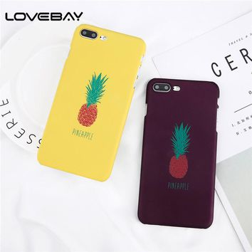 Lovebay Phone Case For iPhone X 8 7 6 6s Plus 5 5s SE Fashion Cartoon Pineapple Ultra Thin Hard PC Back Cover Cases For iPhone 8