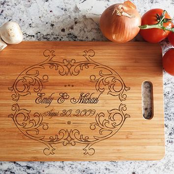 ikb480 Personalized Cutting Board Wood wedding gift anniversary date names wooden wedding