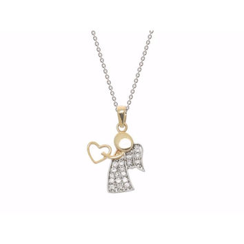 Guardian Angel With Heart Sterling Silver Vermeil Micro Pave  Cz  Beckids Pendant