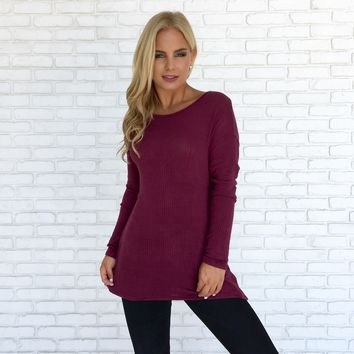 Open Mind Sweater Top in Plum