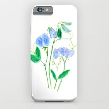 sweet pea flowers watercolor iPhone & iPod Case by Color And Color