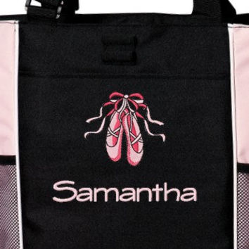 Personalized Ballerina Tote Bag with Girls Name Ballet Dance Embroidered Monogrammed Cute Great Gift