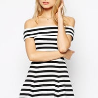Off Shoulder Black White Stripes Ruffle Skater Mini Dress