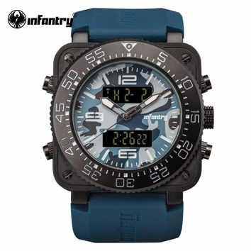 Mens Luxury Watch Navy Blue Military Sports Square Face Watch Water Resistant Rubber Strap