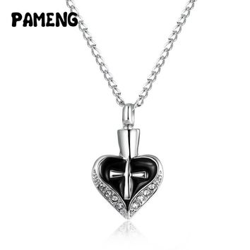 Pameng Keepsake Funeral Jewelry Alloy Cross Heart Cremation Ashes Urn Pendant Necklace