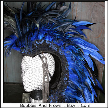 Blue Without You....Feather Mohawk in Black and Blue with Silver Metal Gypsy Veil