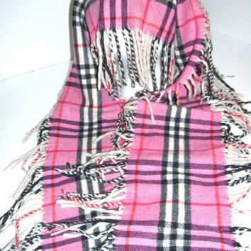 One-nice™ Classic Burberry Pink Plaid Skinny Scarf w/ Long Fringe 14 x 54