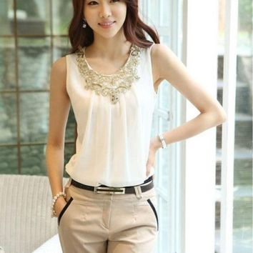 CREYUG3 Korean New Fashion Summer Chiffon Blouse Women's Sleeveless Tshirt Round Neck Sequin Tank Tops(Black/White) = 1932619076