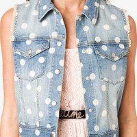 Polka Dot Denim Vest